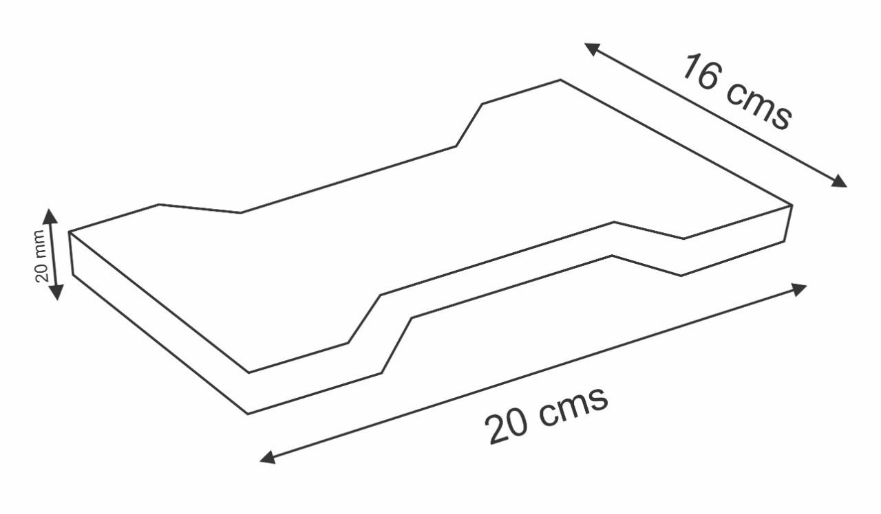 Piso de Borracha Tipo Ossinho 20x16cm 20mm
